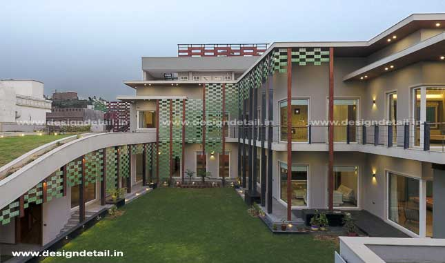 The traditional Indian architectural component courtyard is also included here.